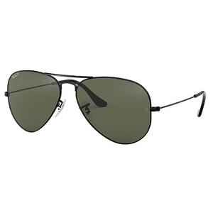Ray Ban Aviator Black / Classic Green Polarized