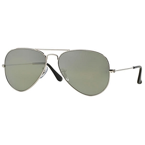 Ray Ban Aviator Polished Silver / Polarized Grey Mirror