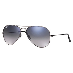 Ray Ban Aviator Polished Gunmetal / Polarized Blue-Grey Gradient