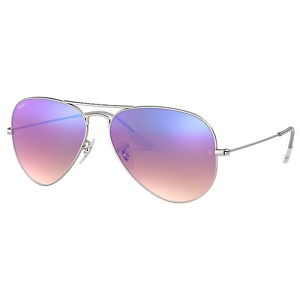 Ray Ban Aviator Matte Silver / Blue Gradient Mirror