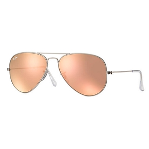 Ray Ban Aviator Matte Silver / Copper Mirror