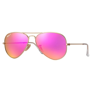 Ray Ban Aviator Matte Gold / Polarized Fucshia Mirror