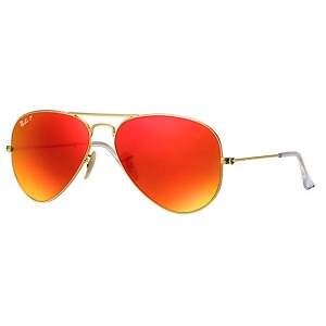 Ray Ban Aviator Matte Gold / Polarized Orange Mirror