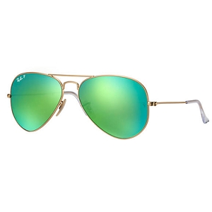 Ray Ban Aviator Matte Gold / Polarized Green Mirror
