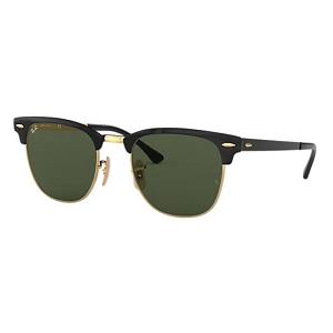 Ray Ban Clubmaster Metal Polished Black with Gold / Classic Green