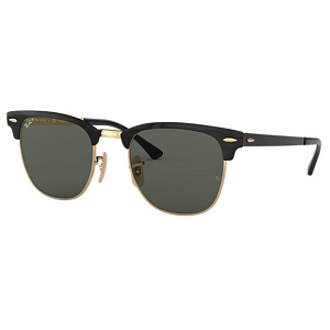 Ray Ban Clubmaster Metal Polished Black with Gold / Classic Green Polarized