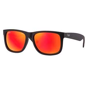 Ray Ban Justin Rubber Black / Red Mirror