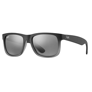 Ray Ban Justin Rubber Grey/Grey Transparent / Silver Gradient Mirror