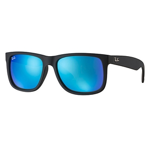 Ray Ban Justin Rubber Black / Blue Mirror