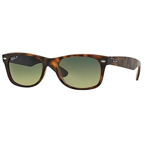 Ray Ban New Wayfarer Matte Tortoise / Blue-Green Polarized