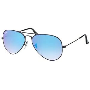 Ray Ban Aviator Shiny Black / Blue Gradient Mirror
